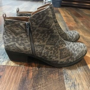 Lucky Brand Suede Aztec Silver Booties
